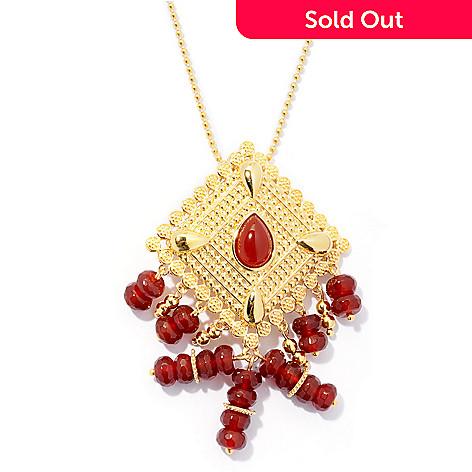 130-037 - Jaipur Bazaar Gold Embraced™ Red Agate Ornate Pendant w/ 20'' Chain