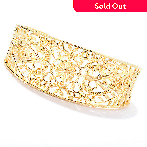 130-038 - Jaipur Bazaar Gold Embraced™ 7'' Floral Filigree Cuff Bracelet