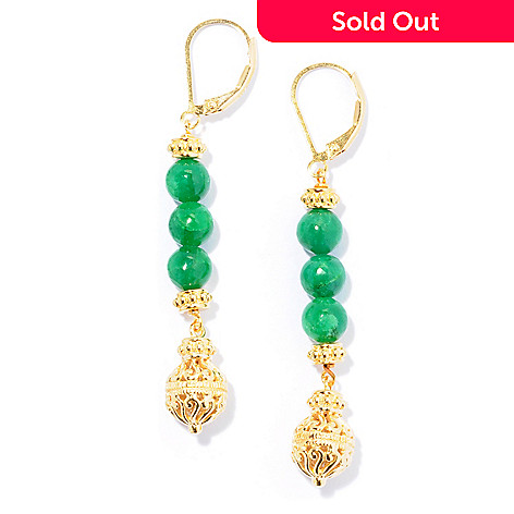 130-040 - Jaipur Jewelry Bazaar™ Gold Embraced™ Dyed Emerald Bead Elongated Filigree Drop Earrings