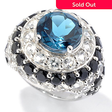 130-043 - Gem Treasures® Sterling Silver 11.95ctw Spinel, Blue & White Topaz Dome Ring