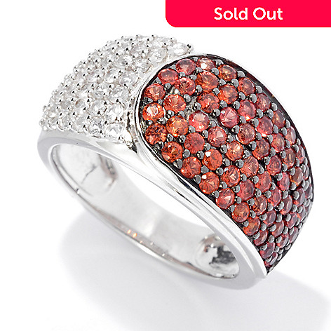 130-044 - Gem Treasures® Sterling Silver 1.06ctw Orange & White Sapphire Band Ring