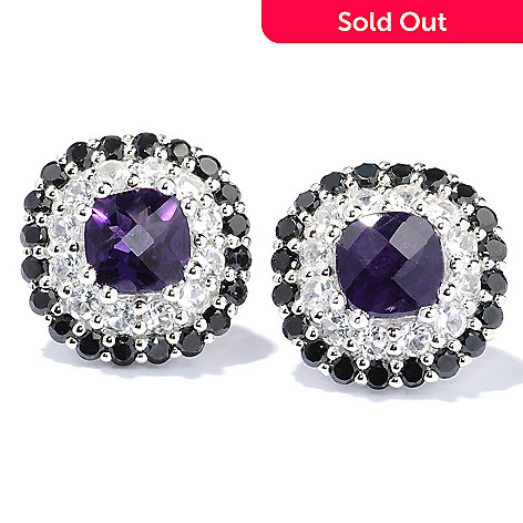 130-046 - Gem Treasures Sterling Silver 6.72ctw Amethyst, White Topaz & Spinel Earrings