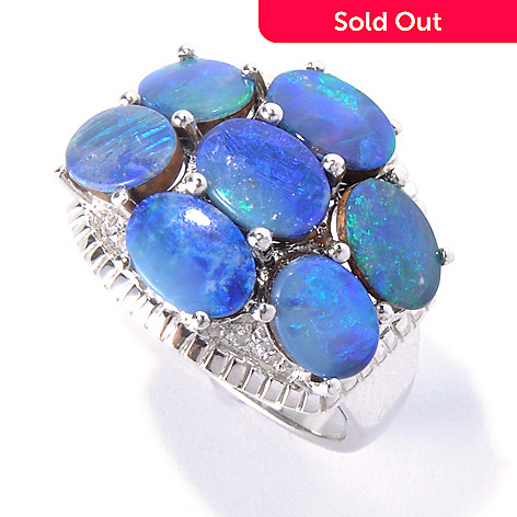 130-048 - Gem Insider™ Sterling Silver Oval Blue Opal Doublet & Zircon Cluster Ring