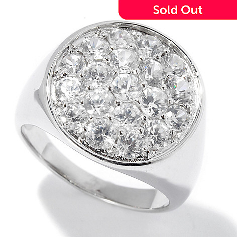 130-052 - Gem Treasures® Men's Sterling Silver 4.32ctw White Zircon Round Ring