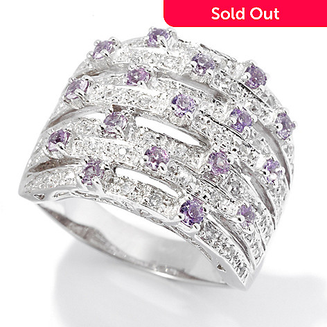 130-053 - Gem Treasures Sterling Silver 1.15ctw Purple & White Sapphire Seven-row Ring