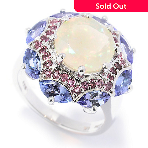 130-054 - Gem Insider™ Sterling Silver 5.37ctw Opal, Pink Tourmaline & Tanzanite Ring