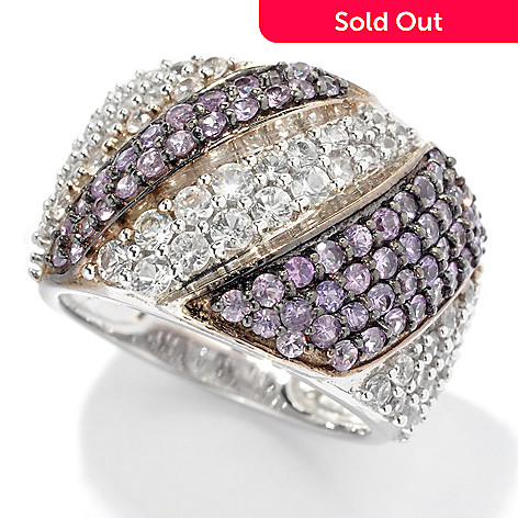 130-055 - Gem Treasures Sterling Silver 2.00ctw Purple & White Sapphire Diagonal Ring
