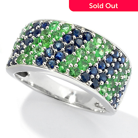 130-057 - Gem Treasures® Sterling Silver 1.98ctw Sapphire & Tsavorite Wide Band Ring