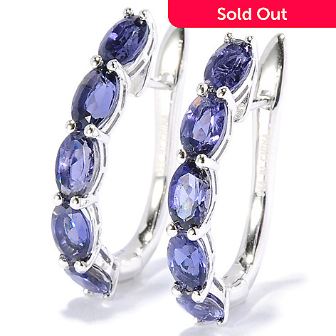 130-059 - Gem Treasures® Sterling Silver 1'' Gemstone U-Shape Hoop Earrings