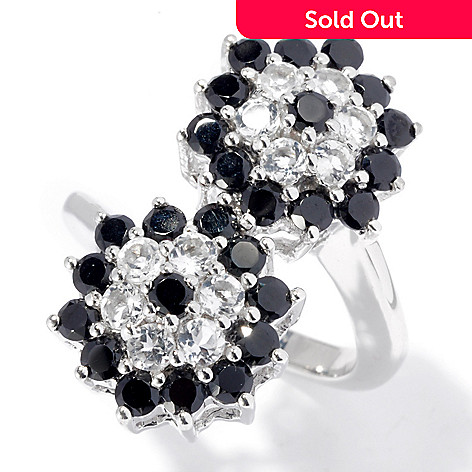 130-064 - Gem Treasures® Sterling Silver 3.80ctw Spinel & White Topaz Double Flower Ring