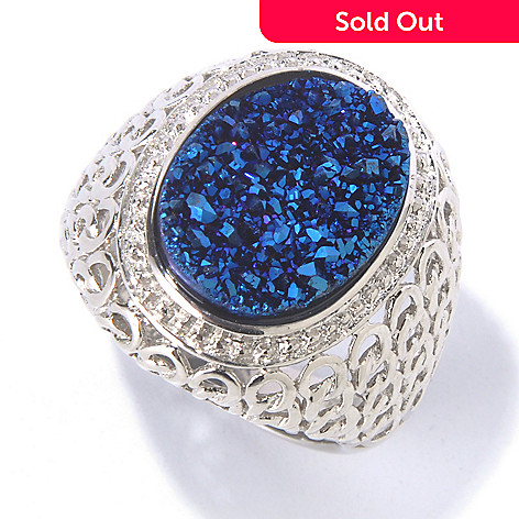 130-065 - Gem Insider® Sterling Silver 15.5 x 13mm Oval Blue Drusy Chain Link Ring