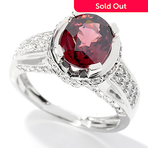 130-066 - Gem Treasures® Sterling Silver 3.02ctw Oval Raspberry & White Zircon Ring