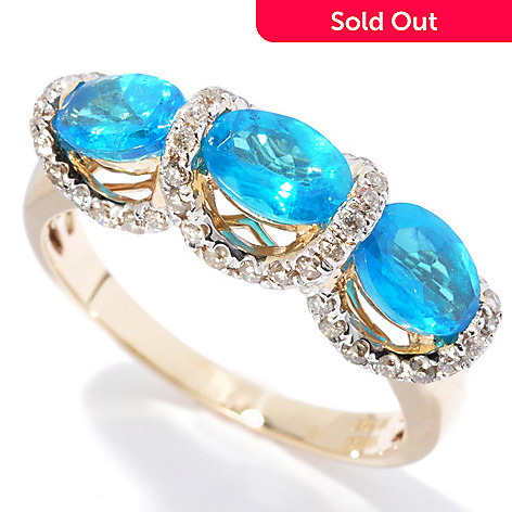 130-068 - Gem Treasures® 14K Gold 1.73ctw Neon Blue Apatite & Diamond Three-Stone Ring