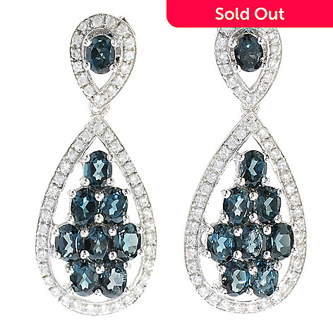 130-070 - Gem Treasures® Sterling Silver 4.38ctw Topaz & Zircon Teardrop Dangle Earrings