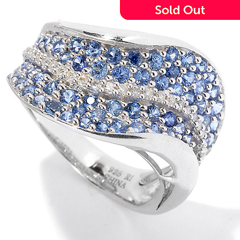 130-071 - Gem Treasures® Sterling Silver 1.80ctw Sapphire & Diamond Pave Wave Ring