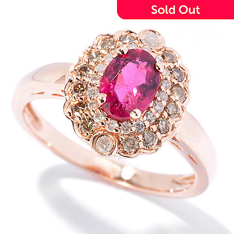130-072 - Gem Treasures® 14K Rose Gold 1.10ctw Oval Rubellite & Diamond Ring