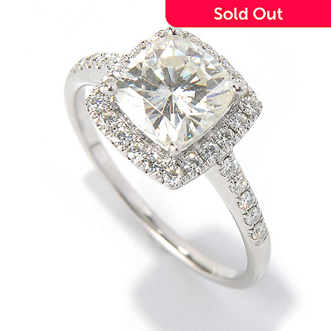130-086 - Forever Brilliant Moissanite 14K Gold 2.00 DEW Cushion Cut Halo Ring