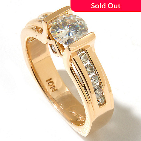 130-087 - Forever Brilliant® Moissanite 14K Gold 1.11 DEW Channel & Bezel Euro Shank Ring