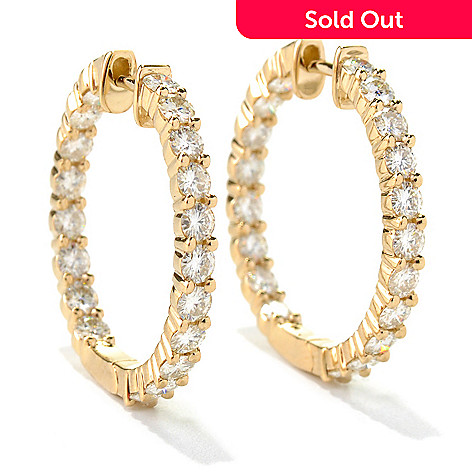 130-092 - Forever Brilliant® Moissanite 14K Gold 1'' 2.28 DEW Hoop Earrings