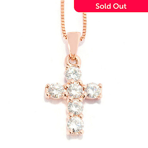 130-096 - Forever Brilliant Moissanite 14K Gold Cross Pendant w/ 18'' Chain