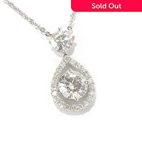 130-098 - Estrella Moissanite 14K White Gold 16'' 1.74 DEW Teardrop Halo Necklace