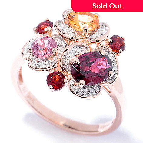 130-100 - Gem Insider™ 14K Rose Gold 2.06ctw Garnet, Spessartite & Diamond Ring