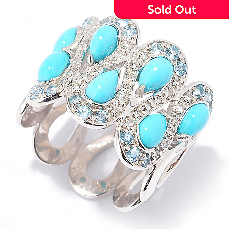 130-103 - Gem Insider™ Sterling Silver 2.11ctw Sleeping Beauty Turquoise & Multi Topaz Ring