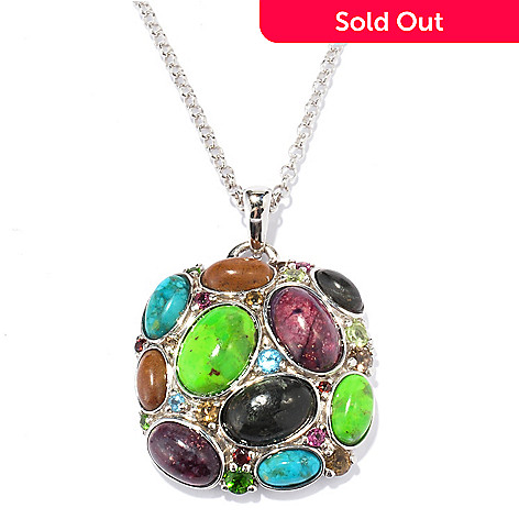 130-104 - Gem Insider® Sterling Silver 10.01ctw Multi Color Turquoise & Gemstone Pendant w/ Chain