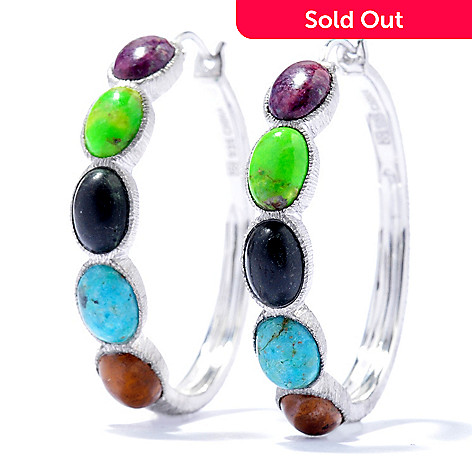 130-105 - Gem Insider™ Sterling Silver 1.25'' Multi Color Oval Turquoise Hoop Earrings