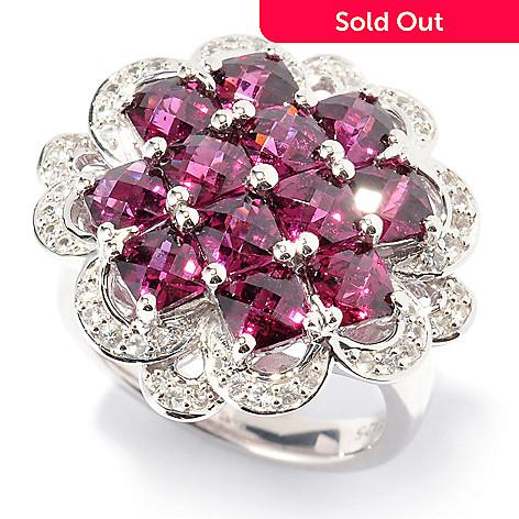 130-107 - Gem Insider Sterling Silver 4.38ctw Garnet & White Sapphire Flower Ring