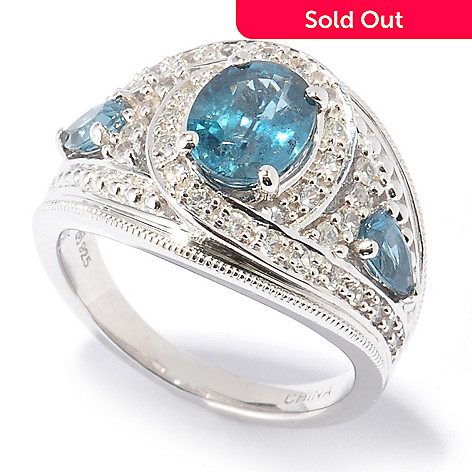 130-108 - Gem Insider® Sterling Silver 2.16ctw Blue-Green Kyanite & White Sapphire Ring