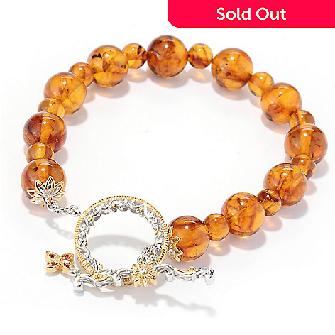 130-110 - Gems en Vogue 8'' Baltic Amber Bead & Orange Sapphire Toggle Bracelet