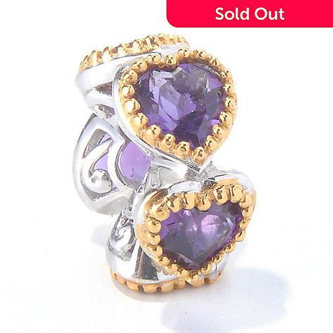 130-112 - Gems en Vogue 1.75ctw Amethyst ''Five Hearts'' Slide-on Charm