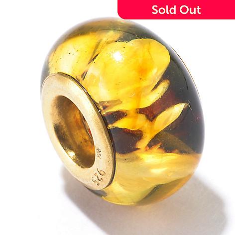 130-120 - Gems en Vogue Carved Amber Rose Print Intaglio Charm