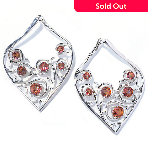 130-122 - Gem Treasures 1.5'' Sterling Silver 3.20ctw Sunset Topaz Scrollwork Teardrop Earrings