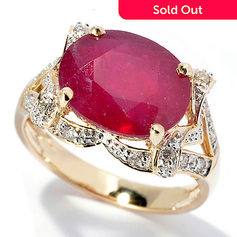 130-123 - Gem Treasures® 14K Gold 7.85ctw Oval Innova™ Ruby & Diamond Ring