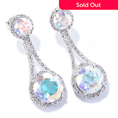 130-126 - Gem Treasures® Sterling Silver 10.40ctw White & Opal Topaz Drop Earrings