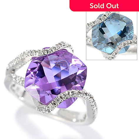 130-127 - Brilliante® 4.40 DEW Cushion Cut Color Shift Alexite® & Simulated Diamond Overlay Ring