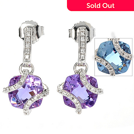 130-128 - Brilliante® 5.27 DEW Cushion Cut Color Shift  Alexite® & Simulated Diamond Drop Earrings