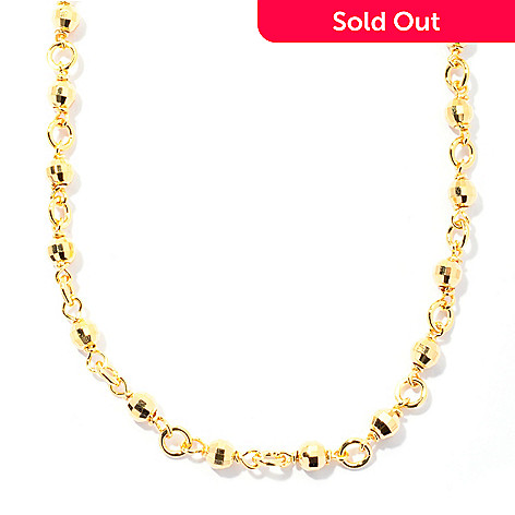 130-129 - Scintilloro™ Gold Embraced™ 24'' Diamond Cut Beaded Chain Necklace