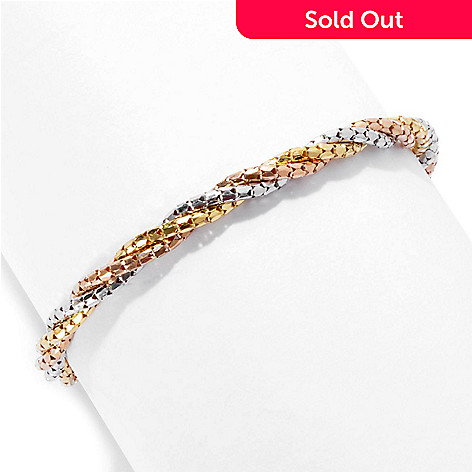 130-130 - Scintilloro™ Gold Embraced™ 7.5'' Tri-color Diamond Cut Twisted Bracelet