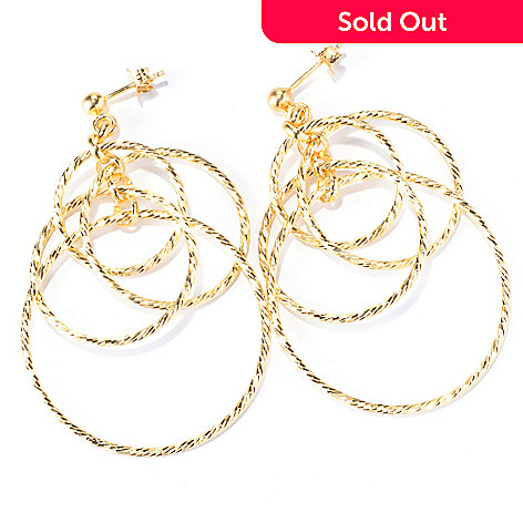 130-132 - Scintilloro™ 18K Gold Embraced™ Diamond Cut Four-Tier Circle Dangle Earrings