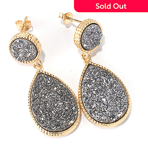 130-133 - Scintilloro™ Gold Embraced™ Platinum Drusy Teardrop Shaped Drop Earrings