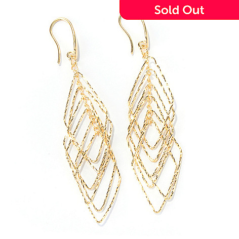 130-134 - Scintilloro™ 18K Gold Embraced™ Tiered Diamond Shaped Dangle Earrings