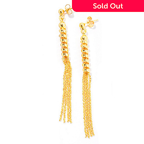 130-135 - Scintilloro™ Gold Embraced™ Polished & Diamond Cut Tassel Earrings