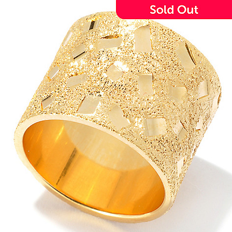 130-137 - Scintilloro™ 18K Gold Embraced™ Diamond Cut & Sandblasted Confetti Ring