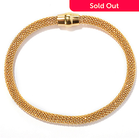 130-140 - Scintilloro™ Gold Embraced™ 7.25'' Diamond Cut Bracelet w/ Magnetic Closure