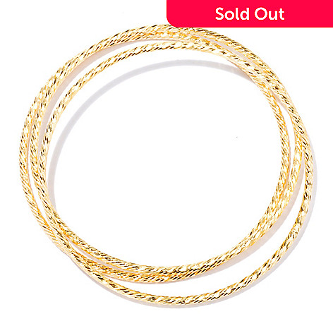 130-143 - Scintilloro™ Gold Embraced™ Set of Three 8'' Diamond Cut Bangle Bracelets