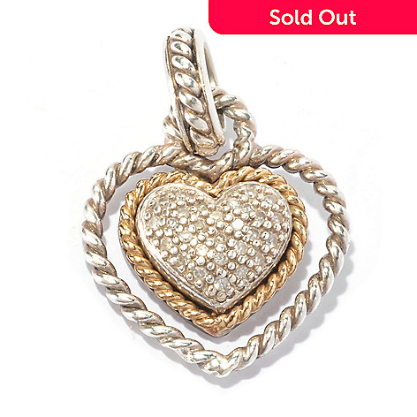 130-144 - Artisan Silver by Samuel B. 0.13ctw Pave Set Diamond Heart Pendant