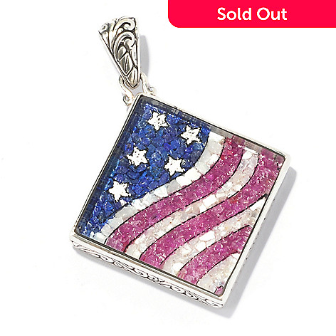 130-147 - Artisan Silver by Samuel B. Crushed Multi Gemstone Flag Pendant